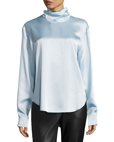 High-Neck Satin Blouse, Light Blue