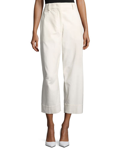 Cropped Corduroy Pants, White