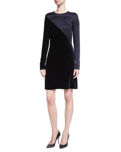 Long-Sleeve Satin & Velvet Combo Dress, Dark Blue