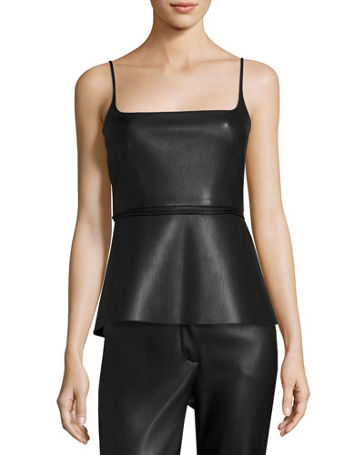 Pleated Spaghetti-Strap Top, Black