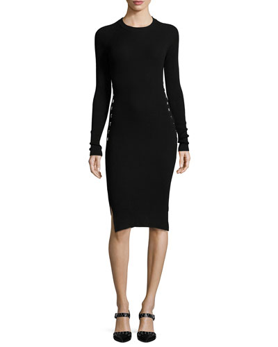 Stapled Long-Sleeve Knit Dress, Black