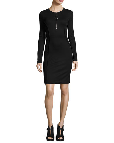 Long-Sleeve Half-Zip Mini Dress, Black