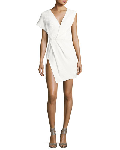 Asymmetric Plisse V-Neck Minidress, Off White