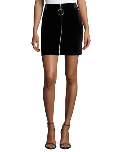 Jupe Zip-Front Mini Skirt, Black