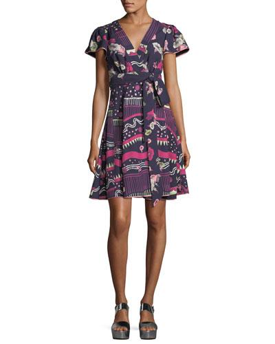 Floral-Print Cap-Sleeve Wrap Dress