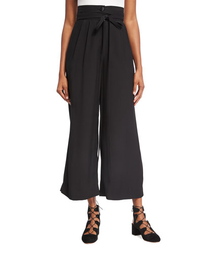 High-Waist Tie-Front Pants, Black