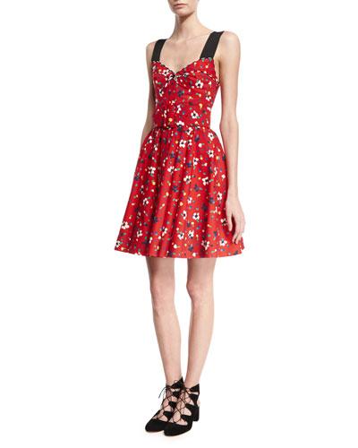 Pop-Print Sleeveless Dress, Black Pattern