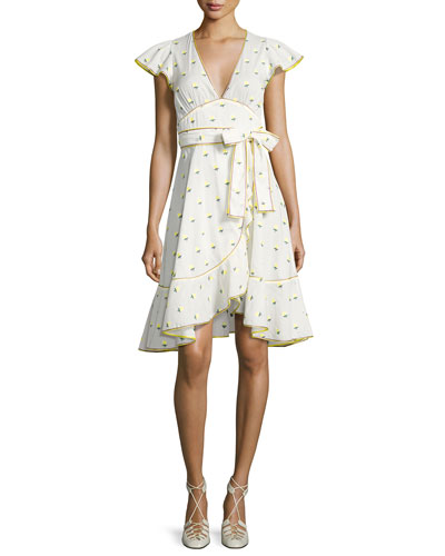 Printed Voile Ruffle-Sleeve Dress, White Pattern