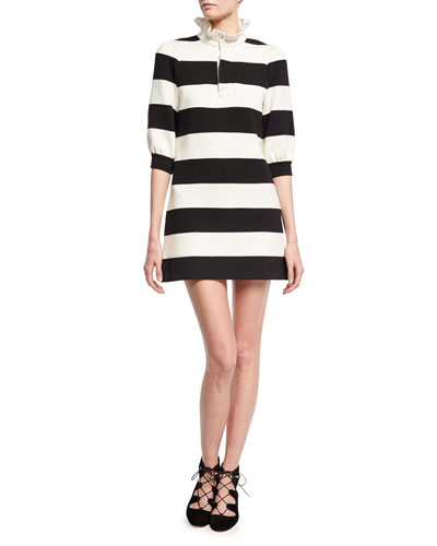 Rugby Stripe Frill-Collar Minidress, Black/White