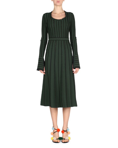 Long-Sleeve Tie-Back Knit Dress, Green/Black