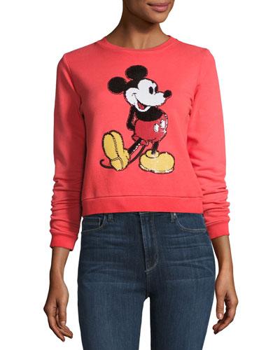 Mickey Mouse Crewneck Sweatshirt, Red