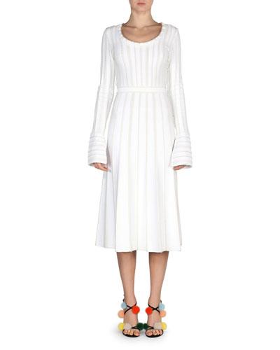 Knit Bell-Sleeve Tie-Back Dress, White