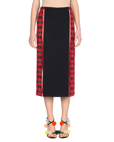 Geometric-Paneled Midi Skirt, Black/Red
