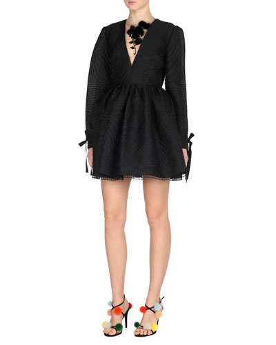 Long-Sleeve Jacquard Cocktail Dress w/Mink Fur Flowers, Black
