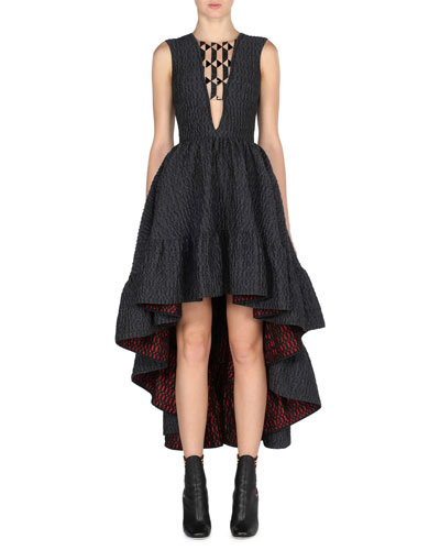 Sleeveless High-Low Jacquard Gown, Black