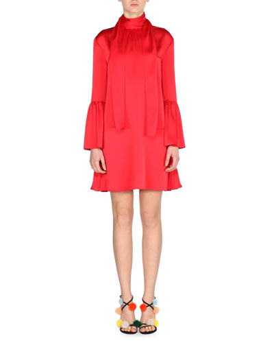 Long-Sleeve Satin Tie-Neck Dress, Red