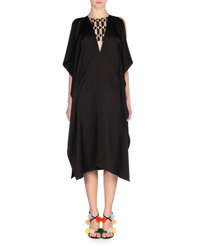 Sleeveless Geometric Illusion Cady Dress, Black