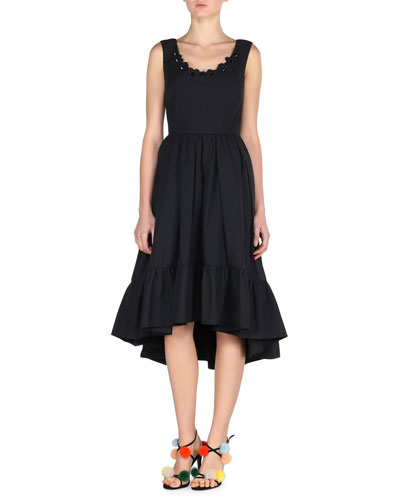Sleeveless Pleated Poplin Dress, Black