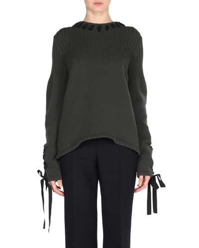 Ribbon-Laced Cashmere Sweater, Green/Black
