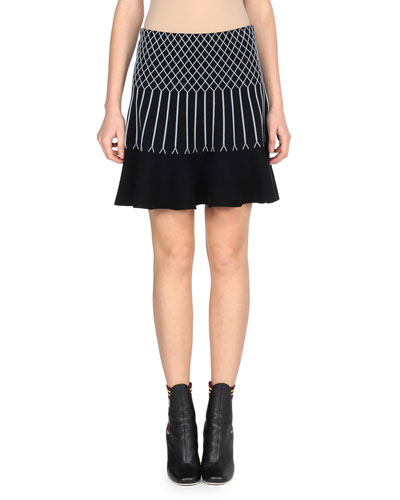 Flared Knit Geometric Skirt, Black/Blue