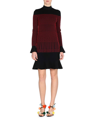 Flared Mock-Neck Long-Sleeve Dress, Black/Red