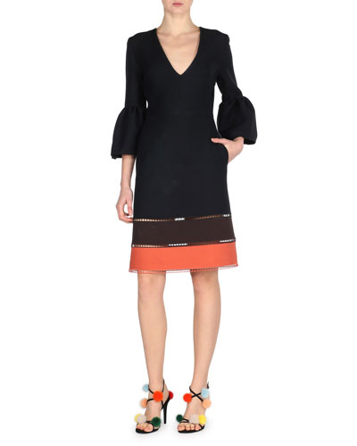 V-Neck Bell-Sleeve Ladder-Stitch Dress, Black Pattern