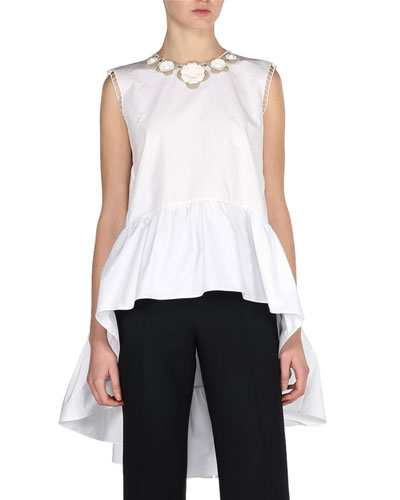 Sleeveless Floral Poplin High-Low Blouse, White