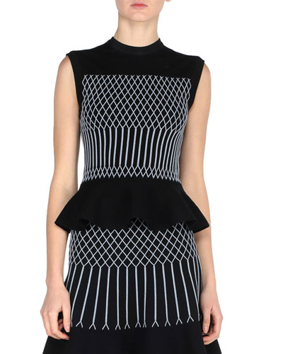 Geometric Knit Sleeveless Peplum Top, Black/Blue