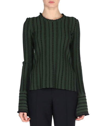 Stitched Long-Sleeve Sweater, Green/Black
