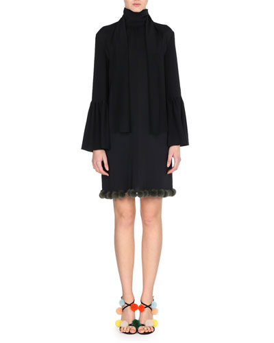 Long-Sleeve Cady Dress w/Fur Pompom Trim, Black