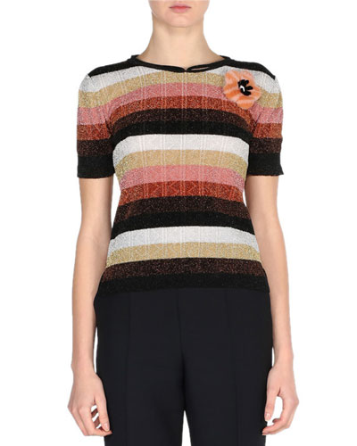 Metallic Striped Short-Sleeve Sweater w/Mink Fur Pin, Silver