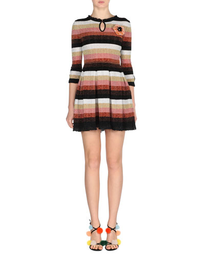 Metallic Striped-Knit Dress w/Fur Pompom, Silver