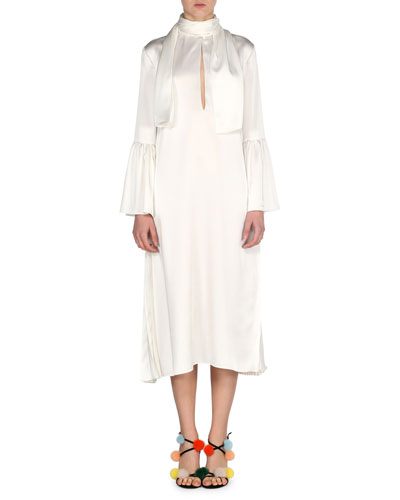 Satin Cady Tie-Neck Dress, Ivory