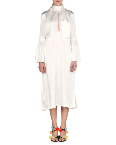 Satin Cady Tie-Neck Dress, Ivory