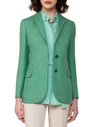Cashmere-Linen Herringbone Jacket, Forest