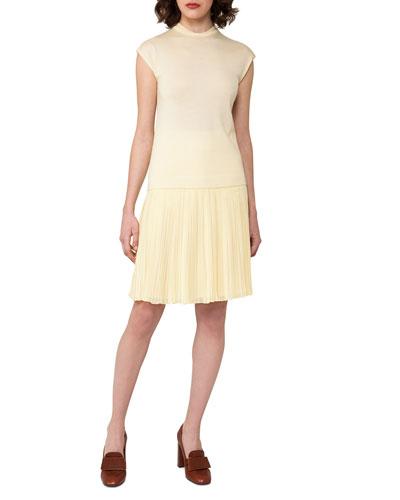 Knit Mock-Neck Top, Light Yellow