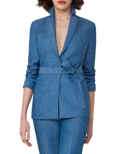 Belted Herringbone Linen Jacket, Light Blue
