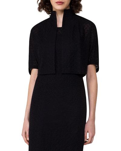 Elbow-Sleeve Bolero Jacket, Black