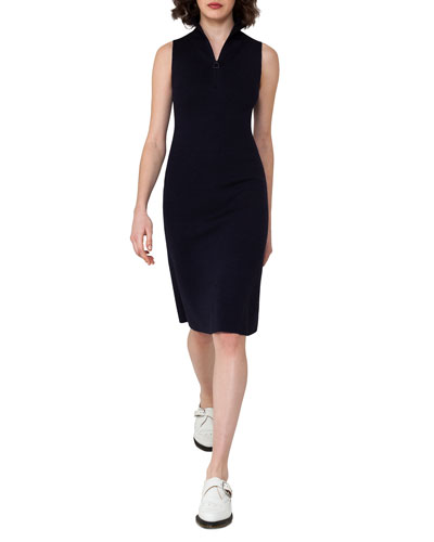 Sleeveless Zip-Front Sheath Dress, Blue