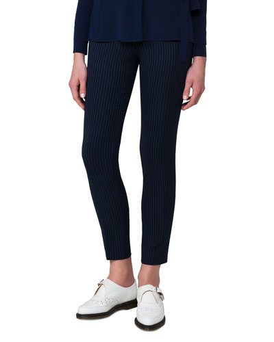 Pinstriped Silk Crepe Ankle Pants, Blue