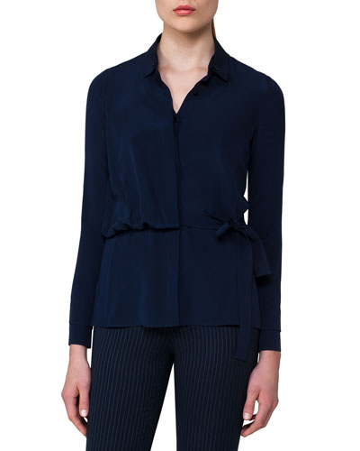 Silk Crepe Trench Blouse, Blue