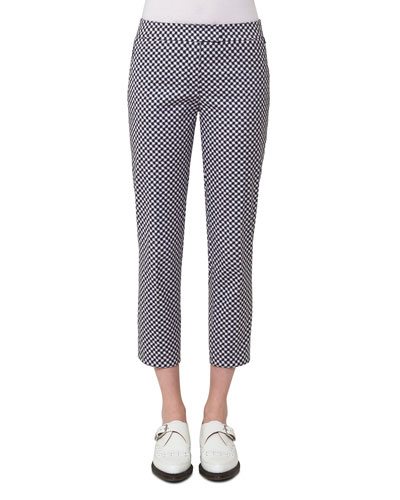 Check-Print Stretch-Gabardine Pants, Off White