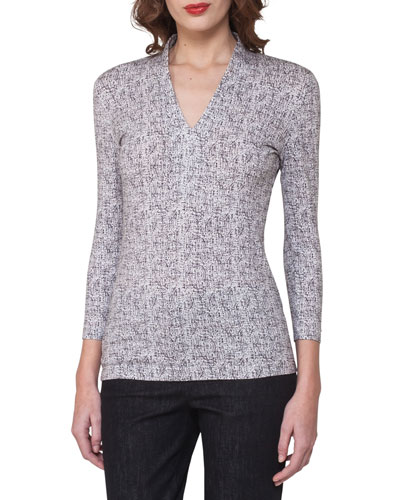 Spot-Print V-Neck Top, Off White