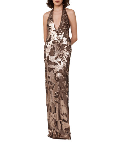 Sequined Jersey Halter Gown, Gold