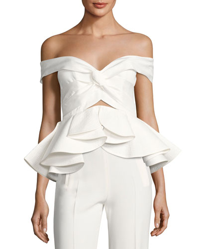 Off-Shoulder Peplum Top, White