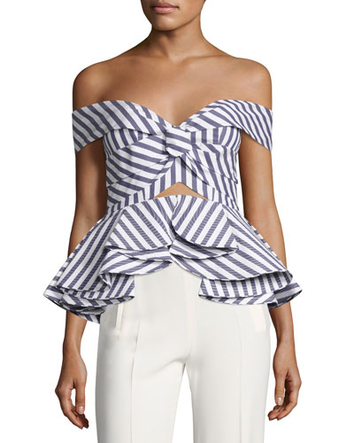 Striped Off-Shoulder Peplum Top, Blue/White