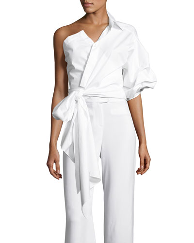 Sherlock One-Shoulder Poplin Wrap Blouse, Off White