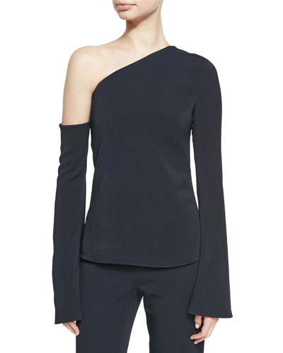 Colma Asymmetric Cold-Shoulder Bell Sleeve Top, Navy