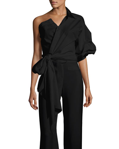 Sherlock One-Shoulder Poplin Wrap Blouse, Black