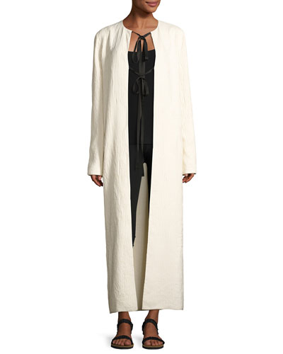 Tiel Crinkled Silk Duster Coat, Light Beige